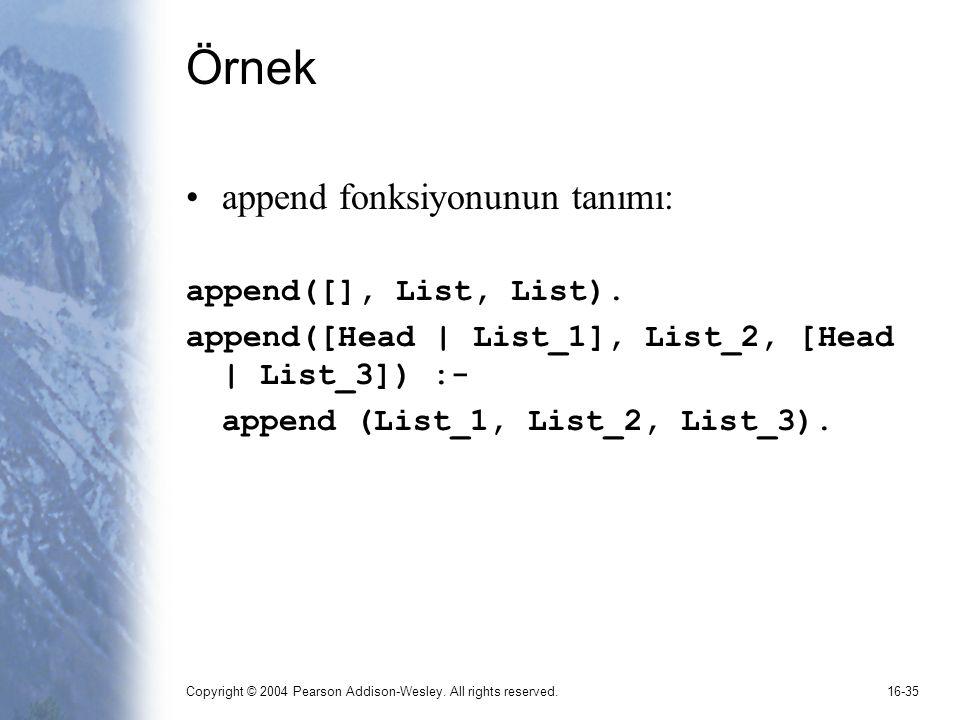 Örnek append fonksiyonunun tanımı: append([], List, List).